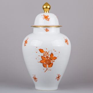 "Herend Chinese Bouquet Rust Orange 23"" Very Large Vase"