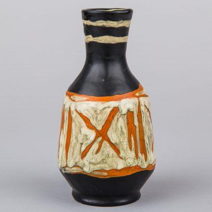 Livia Gorka Hungarian Retro Art Pottery Black and Orange Vase
