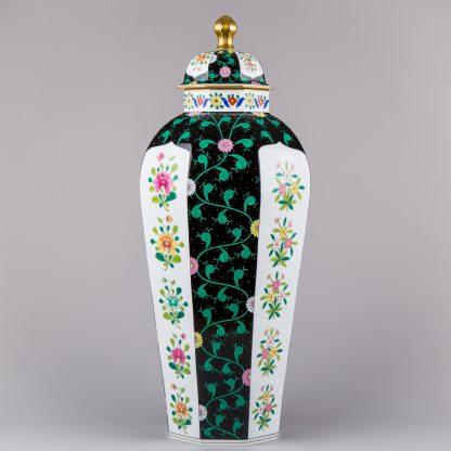 Herend Siang Noir Black Dynasty Huge Lidded Octagonal Vase