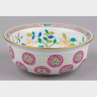 Herend Wales Pattern Double Wall Reticulated Round Bowl #7595/C