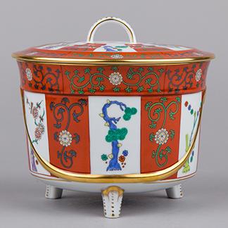Herend Red Dynasty Godollo Pattern Round Biscuit Holder Box #6301/G