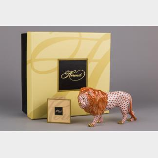 Brand New Herend Red Fishnet Standing Lion Figurine with Original Box