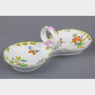 Herend Queen Victoria Double Shell Shaped Dish Centerpiece