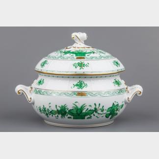 Herend Indian Basket Green Soup Tureen #28/FV