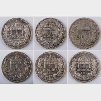 Six Pieces of 1930 HUNGARY Horthy 5 Pengo Silver Coins