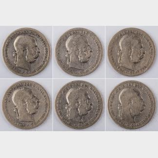 Six Pieces of 1893-1894 AUSTRIA 1 Krone Silver Coins
