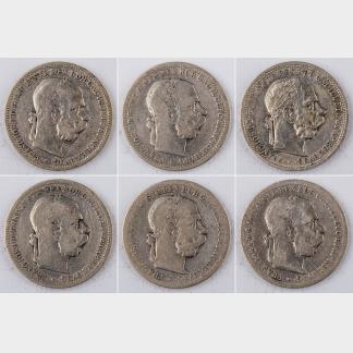 Six Pieces of 1893-1901 AUSTRIA 1 Krone Silver Coins