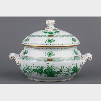 Herend Indian Basket Green Soup Tureen #28/FV II.