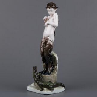 Very Rare Signed Rosenthal Faun with Crocodile Figurine by Ferdinand Liebermann