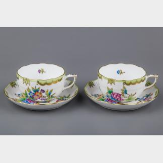 NEW Pair of Herend Queen Victoria Tea Cups with Saucers, 2 Pieces, #724/VBO