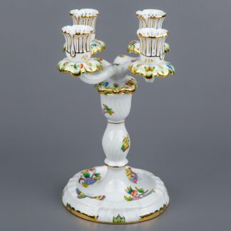 Herend Queen Victoria Four Light Candle Holder #7915/VBO