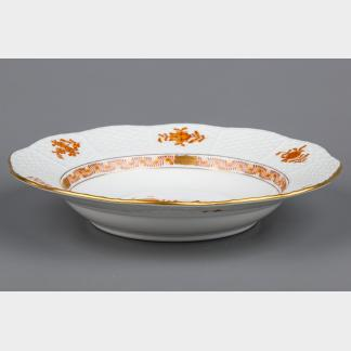 Herend Chinese Bouquet Rust Orange Rim Pasta or Soup Plate #504/AM