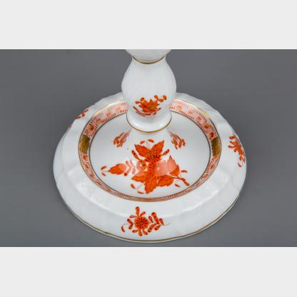 Herend Chinese Bouquet Rust Orange Three Light Candle Holder #7915/AOG