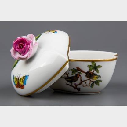 Herend Rothschild Bird Heart Shaped Trinket Box with Pink Rose Lid #6004/RO