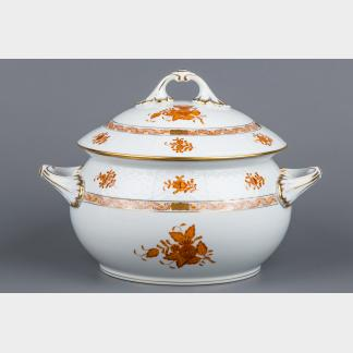 Herend Chinese Bouquet Rust Orange Soup Tureen with Lid and Handles #26/AM