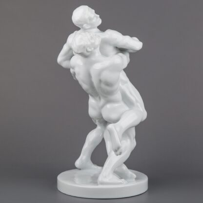 Herend Large Art Deco Nude Olympic Wrestlers Statue, New #5788