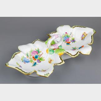 Herend Queen Victoria Large Double Leaf Shaped Dish Centerpiece #7511/VBO