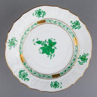 """Herend Chinese Bouquet Green 6"""" Rocaille Dessert Plate #1515/AV"""