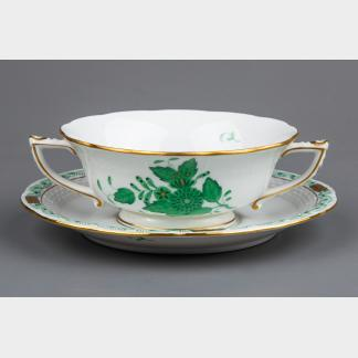 Herend Chinese Bouquet Green Soup Bowl with Saucer #743/AV