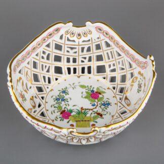 Herend Indian Basket Multicolor Reticulated Fruit Basket #7498/FD