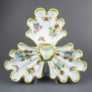 Herend Queen Victoria Large Triple Shell Serving Centerpiece #7442/VBO